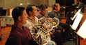 Daniel Kelley, Phil Yao, Brian O'Connor and  Jim Thatcher play French horns on <i>Get Smart</i>