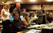 (rear) Producer Kendra Haaland and Disney exec Brett Swain; (front) orchestrator Andrew Kinney, Matt Walker, Peggy Holmes, Jim Dooley and Dennis Sands