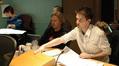 Stephen Barton gives feedback as director Andrew Adamson watches