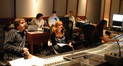 (front) Orchestrator Abe Libbos and composer Deborah Lurie; (rear) scoring assistant Matt Lewkowicz, ProTools recordist Ryan Robinson and music editor Chris McGeary