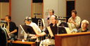 Trumpets: Jon Lewis & Wayne Bergeron.  Middle trombone: Bill Booth; Bass trombone: Bob Sanders; on his right tubist Jim Self
