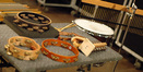 Some of the man percussion instruments used on the score
