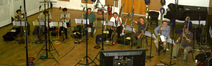 The London ensemble, entirely bass and contrabass clarinets, at Abbey Road Studio 2.