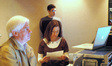 Music editor Thomas Carlson, Isham's assistant Cindy O'Connor and orchestration assistant Philip Klein (rear)