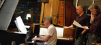 Alan Silvestri reworks a cue as score coordinator David Bifano and music librarian Mark Graham watch