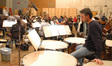 Percussionist Wade Culbreath plays the timpani