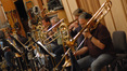 Trombonists Steve Holtman, Bill Booth, George Thatcher and Bill Reichenbach