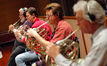 Joe Meyer, Paul Klintworth, Marty Rhees and Steve Durnin play French horn