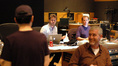 Composer Steve Jablonsky, scoring assistant Pieter Schlosser, ProTools recordist Kevin Globerman and scoring mixer Jeff Biggers