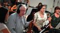 Concertmaster Endre Grenat and violinist Julie Gigante