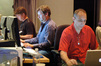 Music editor Jeff Carson, pre-record playback Mike Stern, and ProTools recordist Vinnie Cirilli
