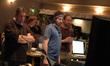 Producer Ivan Reitman, music editor Nick South, director Jason Reitman, and composer Rolfe Kent