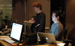Music assistant Alistair South, music editor Nick South, and ProTools recordist Larry Mah