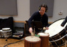 Score mixer Dan Blessinger tracking some percussion