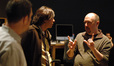 Arranger Tom Gire and composer Heitor Pereira talk with co-director Chris Renaud