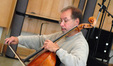 Steve Erdody recording a cello solo