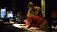 Score coordinator Andrea Datzman, composer Michael Giacchino and director Brad Bird