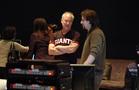 Supervising sound editor Ben Burtt talks with music editor Alex Levy