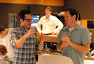 Director J.J. Abrams discusses a cue with composer Michael Giacchino