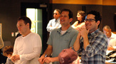 Producer Bryan Burk, director J.J. Abrams and composer Michael Giacchino listen - and react - to the finale cue for the first time (4 of 4)