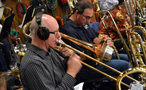 Alex Iles, Alan Kaplan and Bill Reichenbach on trombone