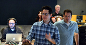 Music editor Paul Apelgren, director J.J. Abrams, supervising sound editor Ben Burtt and composer Michael Giacchino