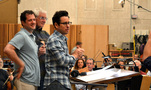 Composer Michael Giacchino, orchestrator/conductor Tim Simonec and director J.J. Abrams thank the orchestra
