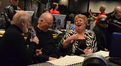 Christine Brewer shares a laugh with John Williams and Lynn Harrell