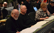 Conductor John Williams, cellist Lynn Harrell and soprano Christine Brewer listen to playback