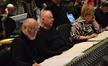 Conductor John Williams, cellist Lynn Harrell and soprano Christine Brewer listen to playback