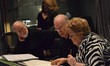 John Williams listens intently as Lynn Harrell and Christine Brewer discuss the music