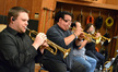 Rob Schaer, Rick Baptist, Gary Grant, and Chuck Findley on trumpets