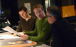 Additional music composers Brandon Roberts and Marcus Trumpp discuss a cue with composer Marco Beltrami