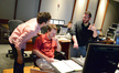Supervising music editor Jack Dolman discusses a cue with supervising orchestrator Stephen Coleman and composer Matthew Margeson