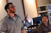 Composer Matthew Margeson and score recordist Frank Wolf listen to a cue