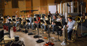 The monstrous low brass section prepares to record on <i>Pacific Rim</i>