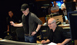 Composer Andrew Lockington and scoring mixer Brad Haehnel enjoy what they hear