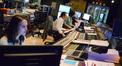Score coordinator Andrea Datzman, composer Michael Giacchino, and scoring mixer Joel Iwataki