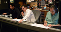 Director J.J. Abrams, composer Michael Giacchino, and scoring mixer Joel Iwataki
