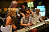 Vocal contractor Bobbi Page, conductor Tim Simonec, director J.J. Abrams, composer Michael Giacchino, and scoring mixer Joel Iwataki share a light moment