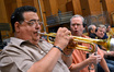 Trumpet Jon Lewis (right) is in awe of Rick Baptist