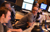 Composer Marco Beltrami (right) talks with additional music composers Buck Sanders (center) and Brandon Roberts (left)