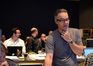 Composer Marco Beltrami gives feedback from the booth