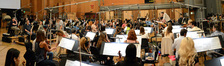 The orchestra prepares for the next cue from <i>Big Hero 6</i>