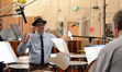 Composer Michael Giacchino explains his ideas to the percussion
