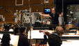 Composer and conductor Alexandre Desplat and the orchestra record a cue from <i>Godzilla</i>