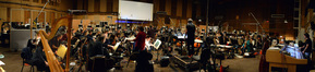 Composer Alexandre Desplat and the orchestra prepare to record