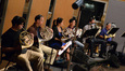 The French horn section: Ben Jaber, Mark Adams, Jenny Kim, Dan Kelley, Steve Becknell, and Dave Everson