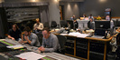 Composer Christophe Beck, scoring assistant Leo Birenberg, director James Bobin (rear), scoring mixer Casey Stone, music editor Richard Ford (hidden), and ProTools recordist Larry Mah