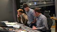 Director James Bobin, scoring assistant Leo Birenberg, and scoring mixer Casey Stone
